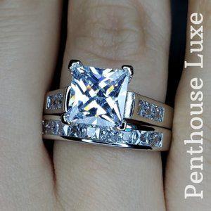 Diamond Wedding Ring Sterling Silver 2 Piece Set